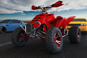 In the 3D ATV Rider flash game you get to start off by customizing your ATV and then its time to see what your new toy can do.  The course you are racing over is full of other drivers and obstacles that you will need good driving skills to get by without crashing or causing damage to your ATV.  If you want to unlock the harder levels you need to avoid crashing your ATV.  Collect coins on your journey so you can upgrade your ATV in the 3D ATV Rider game.  If you want a boost of speed press the Shift key for a nitro boost.