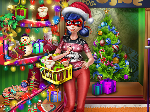 Dotted Girl Christmas Shopping