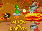A cool action shooting game with 15 challenging levels. You control the alien in his flying saucer and you have to take down the enemy robots. Collect diamonds and upgrade your weapons. There are 9 powerful weapons and 4 special powers you can use to create more destruction. Arm the alien with guns in the inventory screen. Are you skilled enough to unlock all 24 achievements