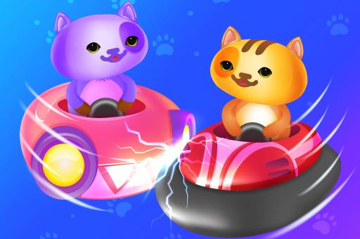 貓咪碰碰車-猫咪碰碰车-Kart Fight-超級可愛的『貓咪碰碰車』。按住滑鼠移動,用盡一切方法,把對手擠下去吧!