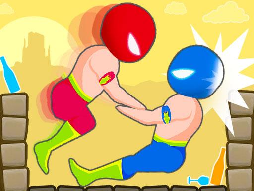 酒醉摔跤--Drunken Wrestle-Drunken 遊戲系列繼續進行有趣的摔跤遊戲。 目標不是讓你的頭接觸地面,當然,也不是讓對手的頭接觸地面。 每個不同的級別都有不同的條件。 變化的條件和關卡設計會影響摔跤,所以你必須找到新的戰術...... Drunken Wrestle 有 1P 和 2P 兩種模式。 比賽中第一個達到5分的人贏得比賽!