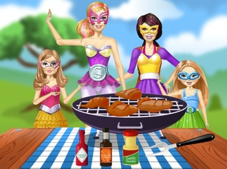 Barbie Family cooking Barbecued Wings