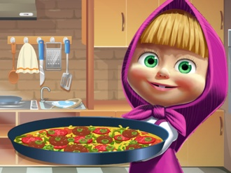 Masha cooking Tortilla Pizza