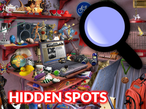 尋找隱藏的物品--Hidden Spots in the Room-在這個遊戲中,您必須在10個不同的級別中找到分散在圖片中分散的所有物件。看看放置在螢幕右側的物件,並在圖片中點擊查找它們。尋找遊戲開始囉!