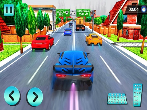 Car Racing in Fast Highway ...