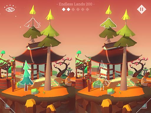 """隱藏的土地--Hidden Lands-雄偉的浮地隱藏著無數的遺跡。仔細觀察並解決視覺挑戰,以發現這些文明發生了什麼。 Hidden Lands 是一款視覺益智遊戲,融合了""""發現差異""""和""""隱藏對象""""機制,可玩無限關卡"""